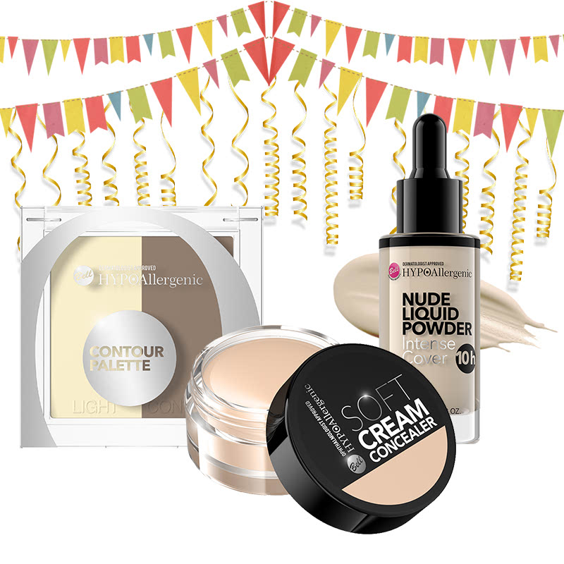 Bell Hypoallergenic Contour Palette + Bell Hypoallergenic Nude Liquid Powder 02 Light Beige + Bell Hypoallergenic Soft Cream Concealer 02 Vanilla