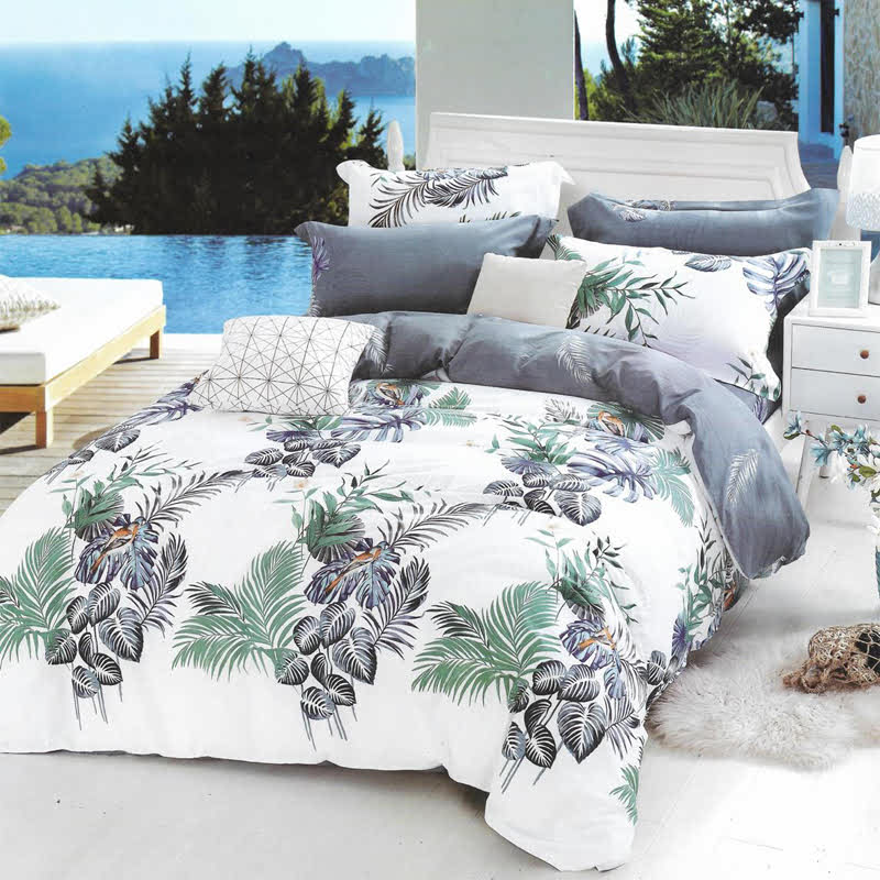 Sleep Buddy Set Sprei dan bed cover Leaf Garden Cotton Sateen 200x200x30