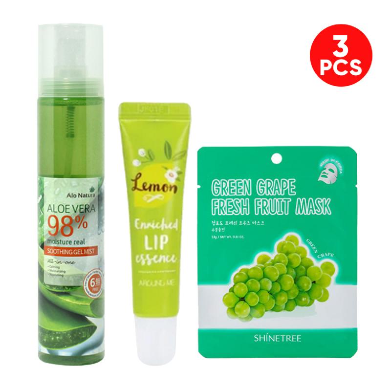 Alo Natura Aloe Vera 98% Soothing Gel Mist 125 Ml + Around Me Enriched Lip Essence Lemon 8,7 Gr + Shinetree Green Grape Fresh Fruit Mask Sheet