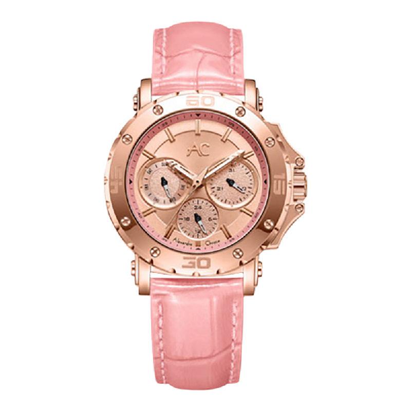 Alexandre Christie AC 9205 BFLRGPN LadiesRose Gold Dial Pink Leather Strap
