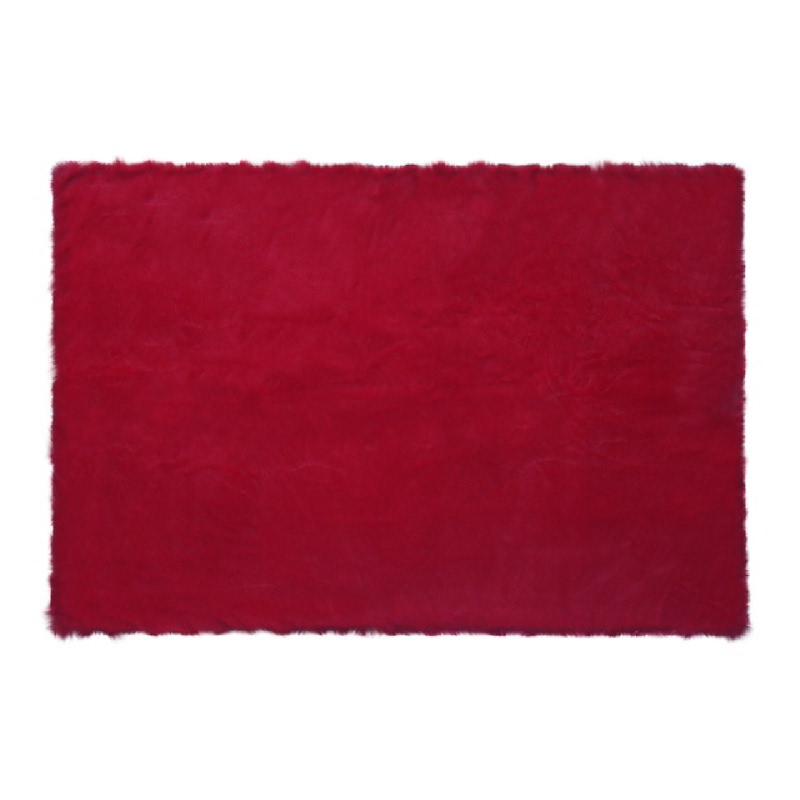 Square Red Chilli Fur Rug - Merah