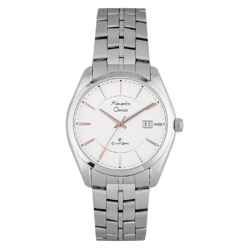 Alexandre Christie AC 8578 MD BSSSLRG Classic Steel Man White Dial Stainless Steel