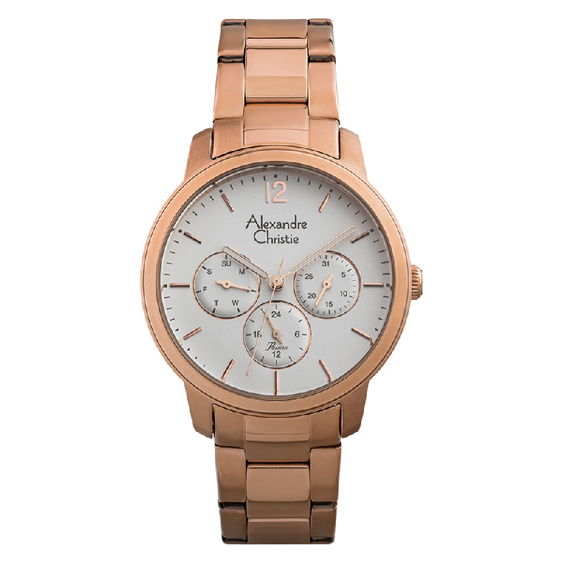 Alexandre Christie Passion AC 2875 BF BRGSL Ladies Silver Dial Rose Gold Stainless Steel Strap