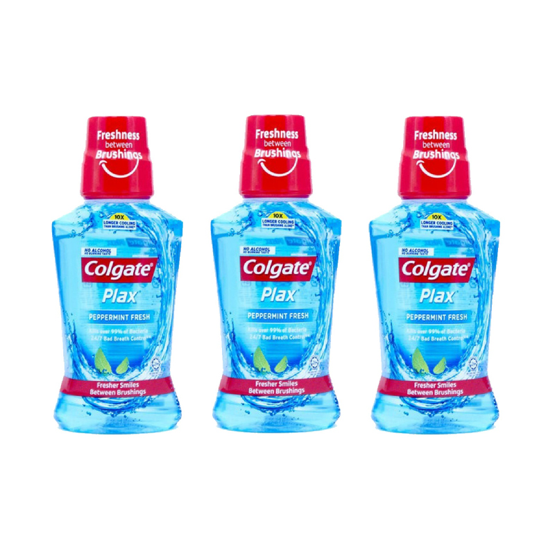 Colgate Plax Mouthwash Peppermint 250Ml (Buy 2 Get 1)