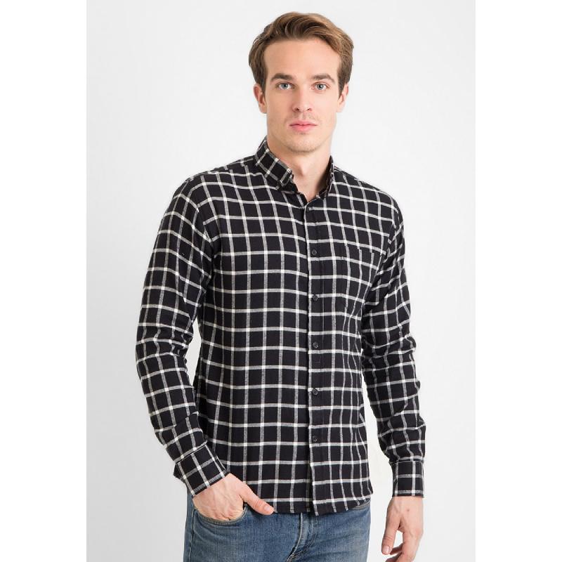 17Seven Men Shirt Flanel Orleans Black