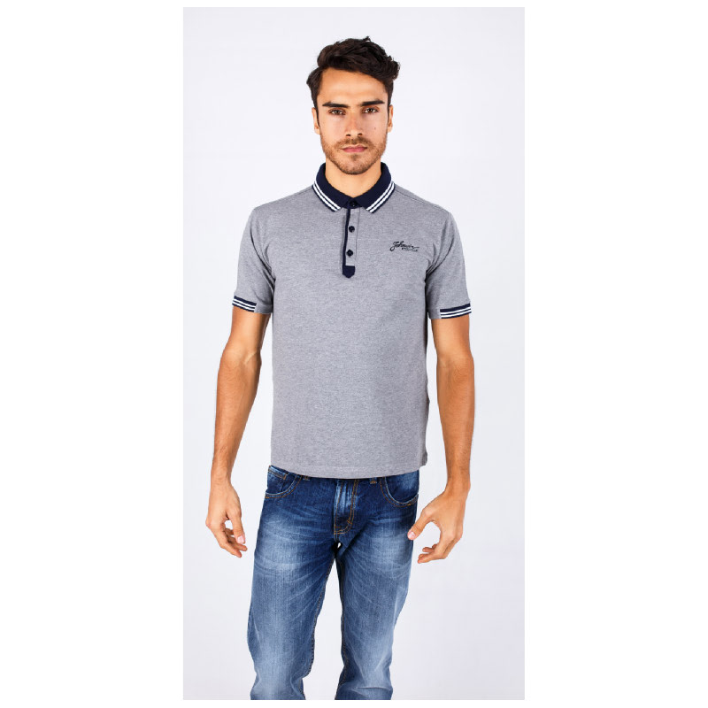 Slim Fit Polo Shirt Gray Striped Collar