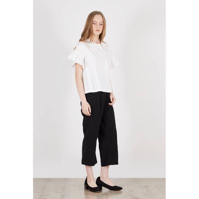 Rania Pleats Sleeve Blouse White