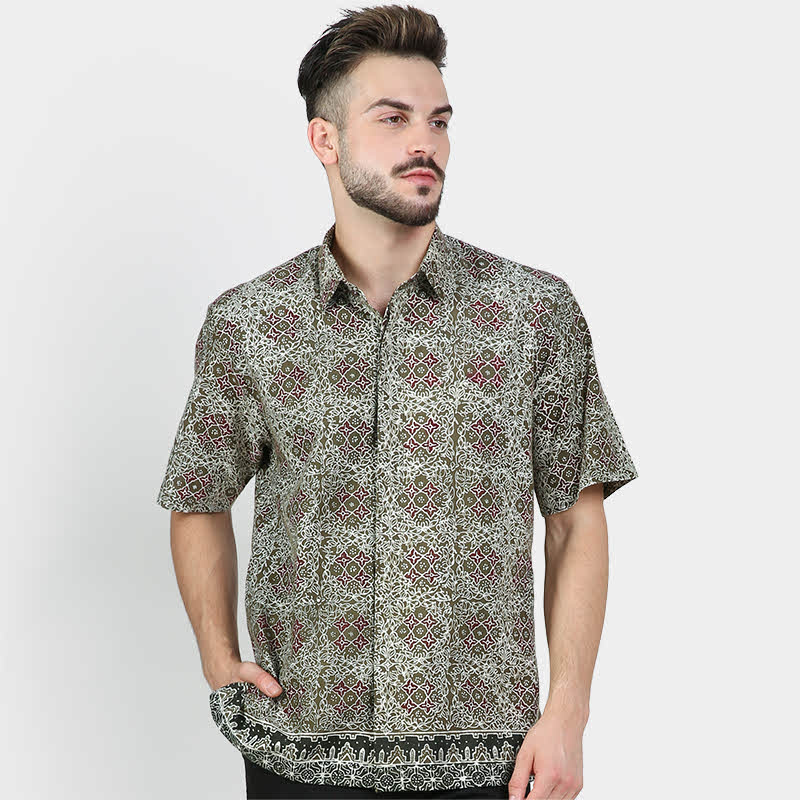 Batik Muda Hem Banten Shirt Green