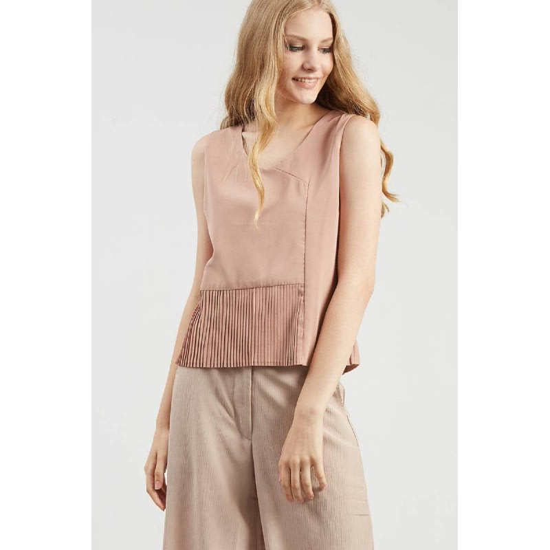 Eliza Creme Pleats Top