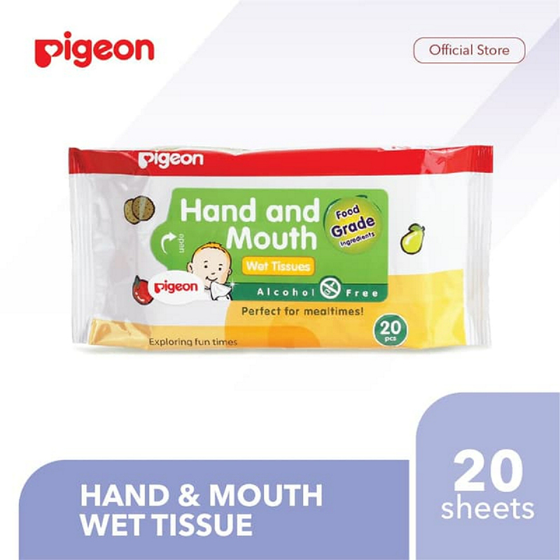 Pigeon Hand and Mouth Wet Tissue - 20 Sheets