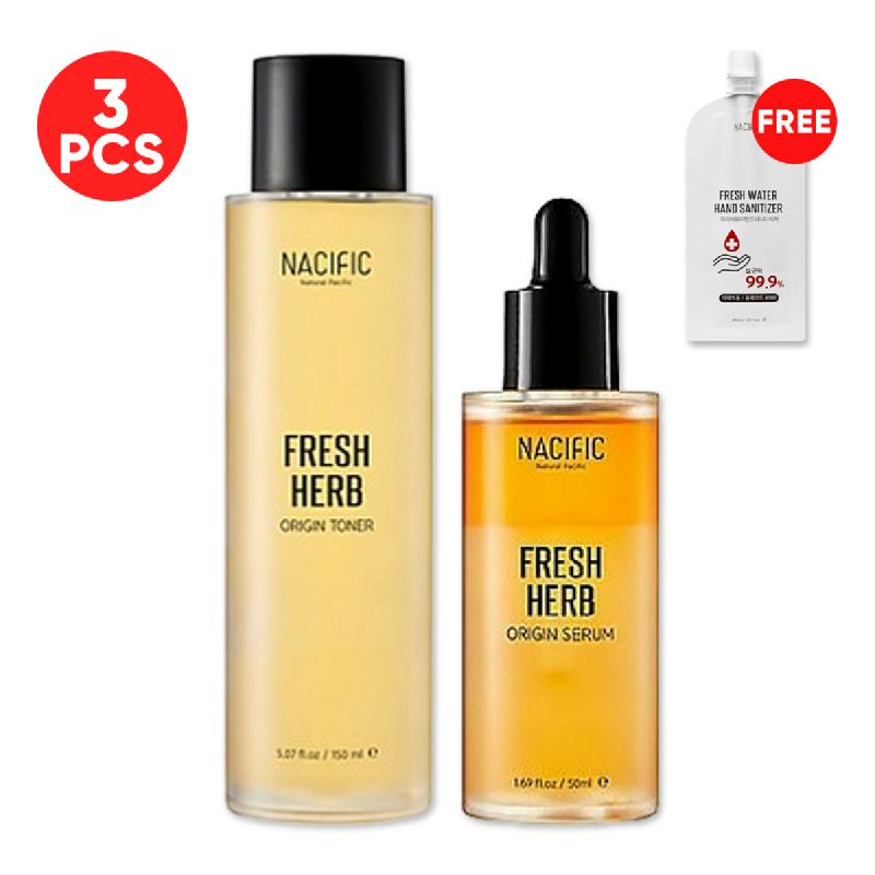 Nacific Fresh Herb Origin Serum 50ml + Toner 150ml FREE Fresh Water Hand Sanitizer 30ml