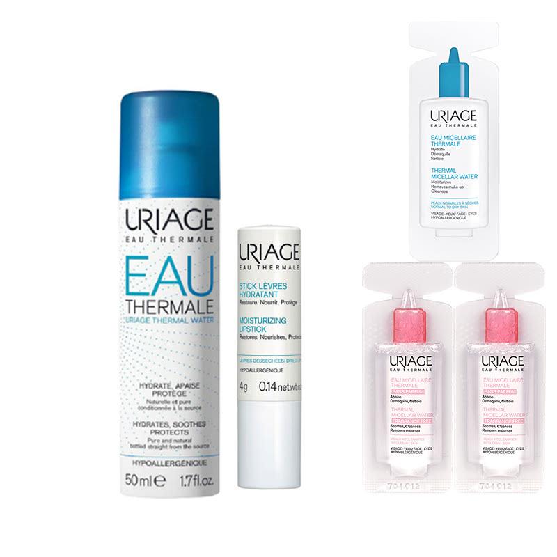 Uriage Travel Set (Thermal 50ml + Moisturizing Lipstick + Vial Micellar (3x))