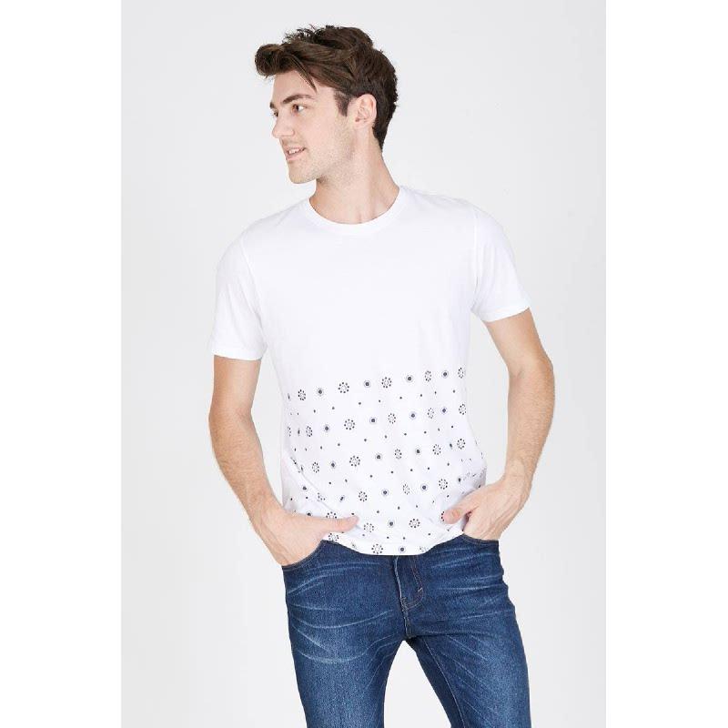 Men Flowerdot Pattem Tshirt White