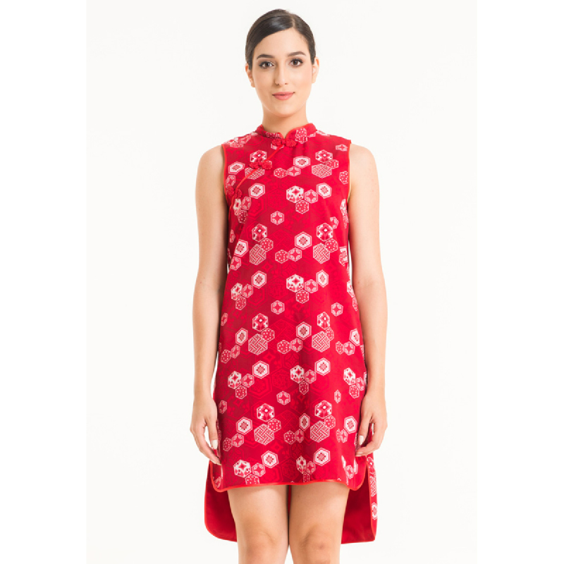 Bateeq Women Sleeveless Cotton Print Dress FL001B-SS18 Red
