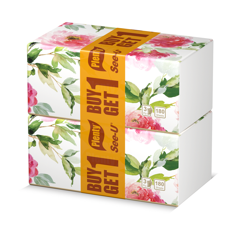 Buy 1 Get 1 Plenty Facial Tissue Premium [3 Ply 180 Sheet]