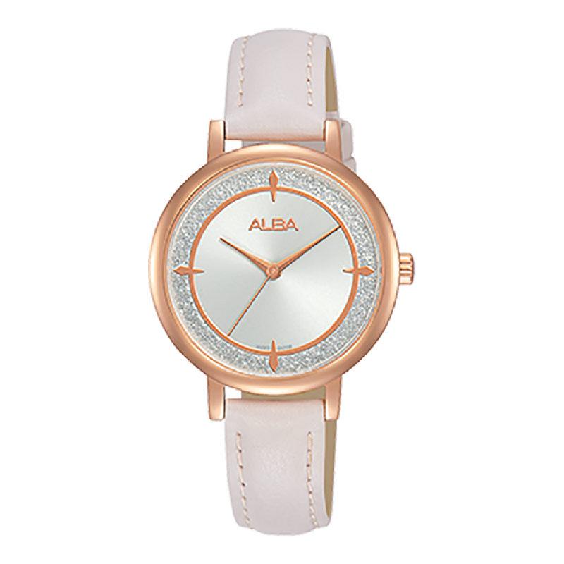 Alba AH8534X1 Ladies Silver Dial White Leather Strap