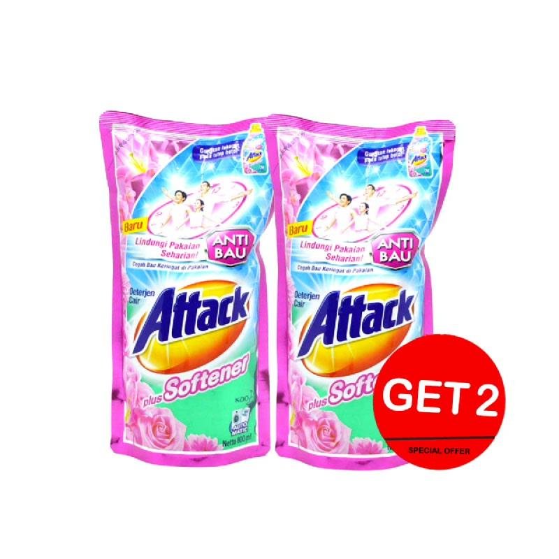 Attack Detergen Cair Plus Pelembut Pouch 800 Ml (Get 2)