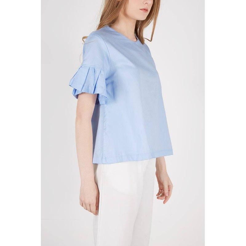 Rania Pleats Sleeve Blouse Blue