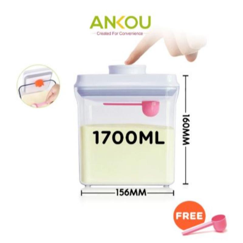 Ankou - Toples Makanan Serbaguna atau Susu Bubuk Air Tight 1700ml Scrapper