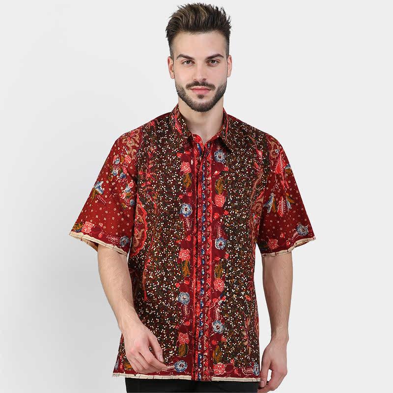 Batik Muda Hem Lasem Shirt Red