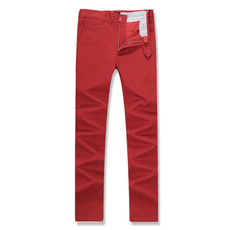 Coin Pocket Cotton Span Pants - Red