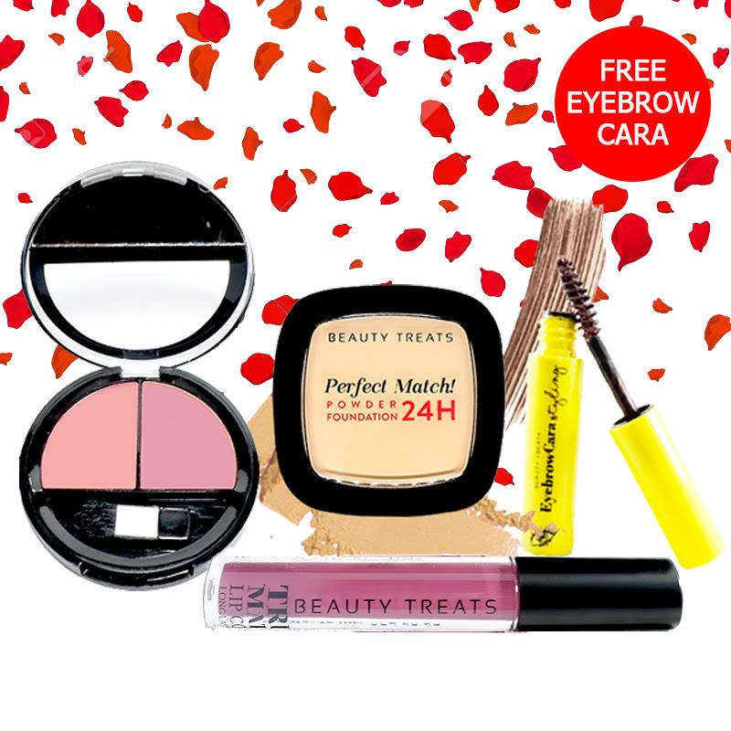 Beauty Treats Make Up Set A (Perfect Match Powder Foundation 24H No. 1 + True Matte Lip Color No. 11 + Duo Blush No. 3) FREE Eyebrowcara Dark Brown