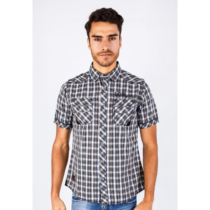 Slim Fit Fashion Shirt Gray-Khakis Gingham