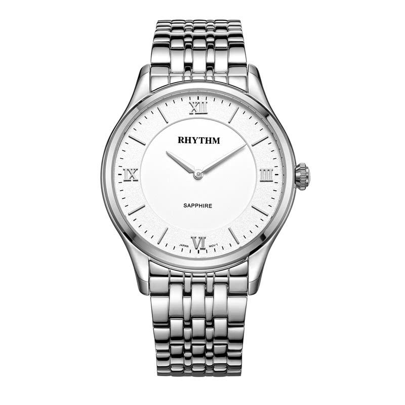 Rhythm P1501S01  Jam Tangan Pria Stainless Steel Silver White
