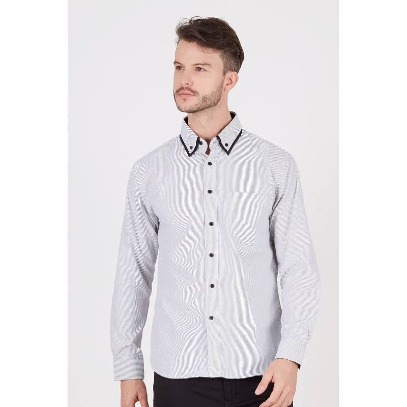 Men Hevlin Black Stripes Shirt