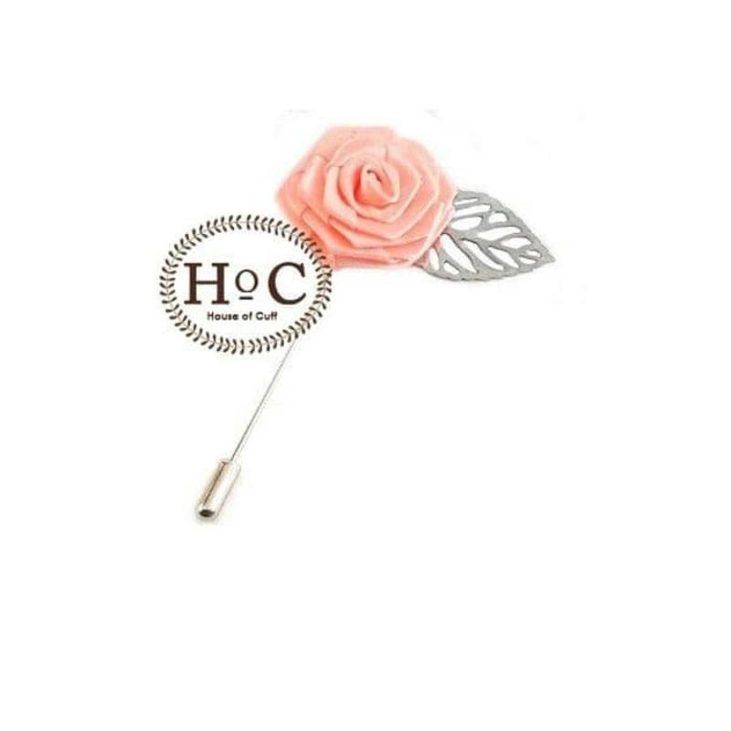 House Of Cuff Lapel Pin Bros Jas Wedding Best Man Flower Leaf Peach