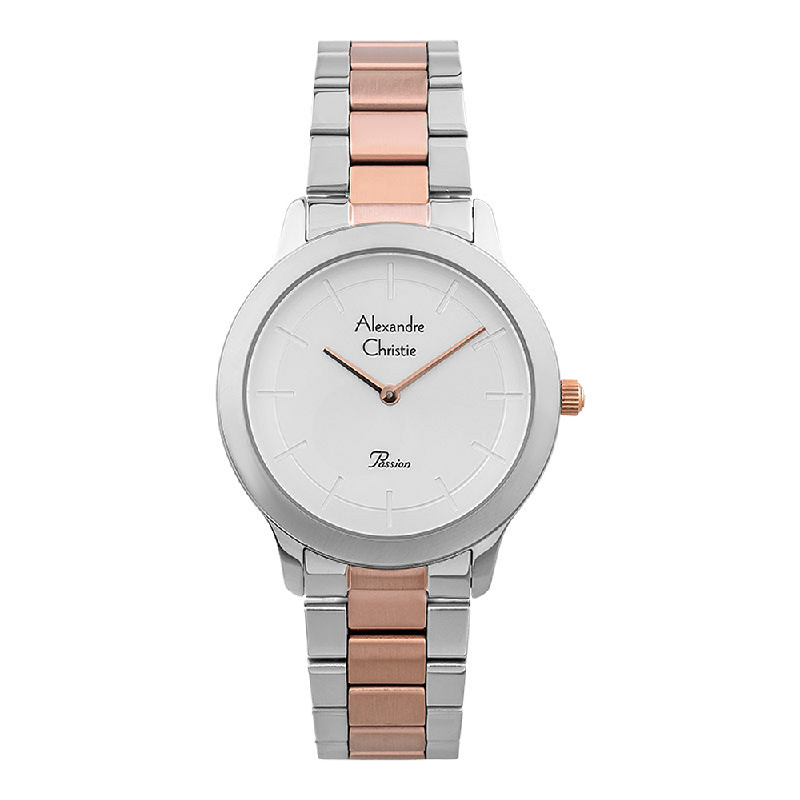 Alexandre Christie Passion AC 2834 LH BTRSL Ladies Silver Dial Dual Tone Stainless Steel Strap
