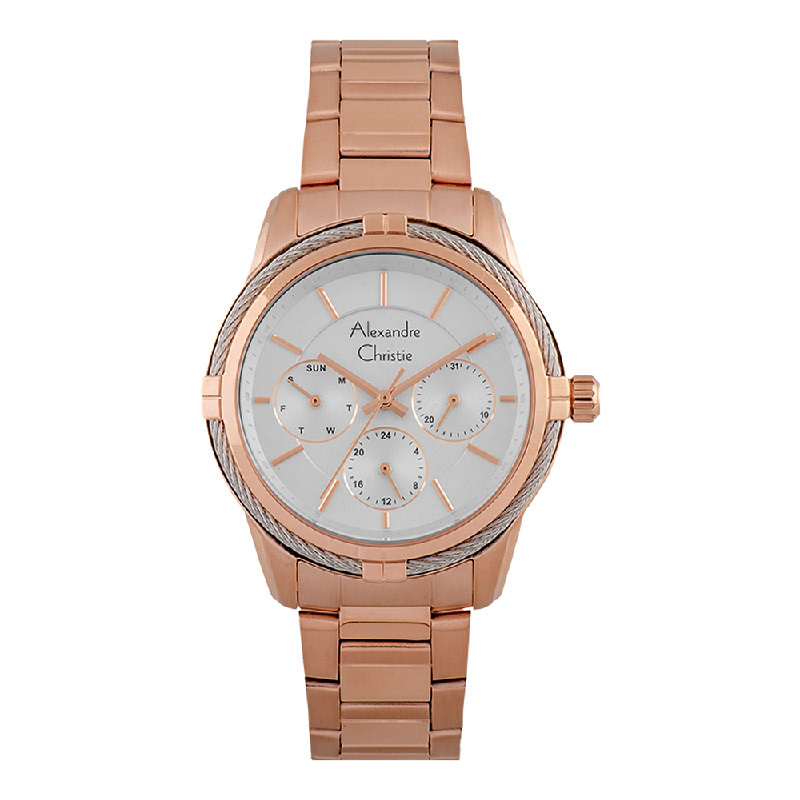 Alexandre Christie AC 2843 BF BRGSL Silver Dial Rose Gold Stainless Steel Strap