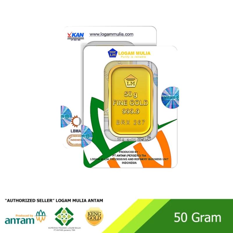 ANTAM Emas 50 Gram Logam Mulia 999.9 Sertifikat ANTAM
