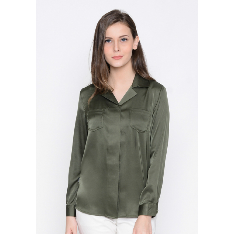 Agatha Long Sleeve Blouse With Notched Collar Green