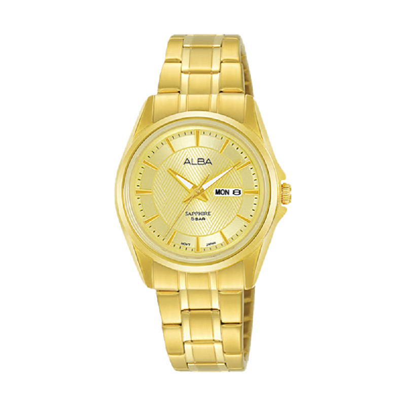 Alba AN8018X1 Gold Pattern Dial Gold Stainless Steel Strap