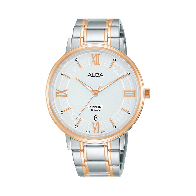 Alba AS9L22X1 Men Silver Patterned Dial Dual Tone Stainless Steel Strap