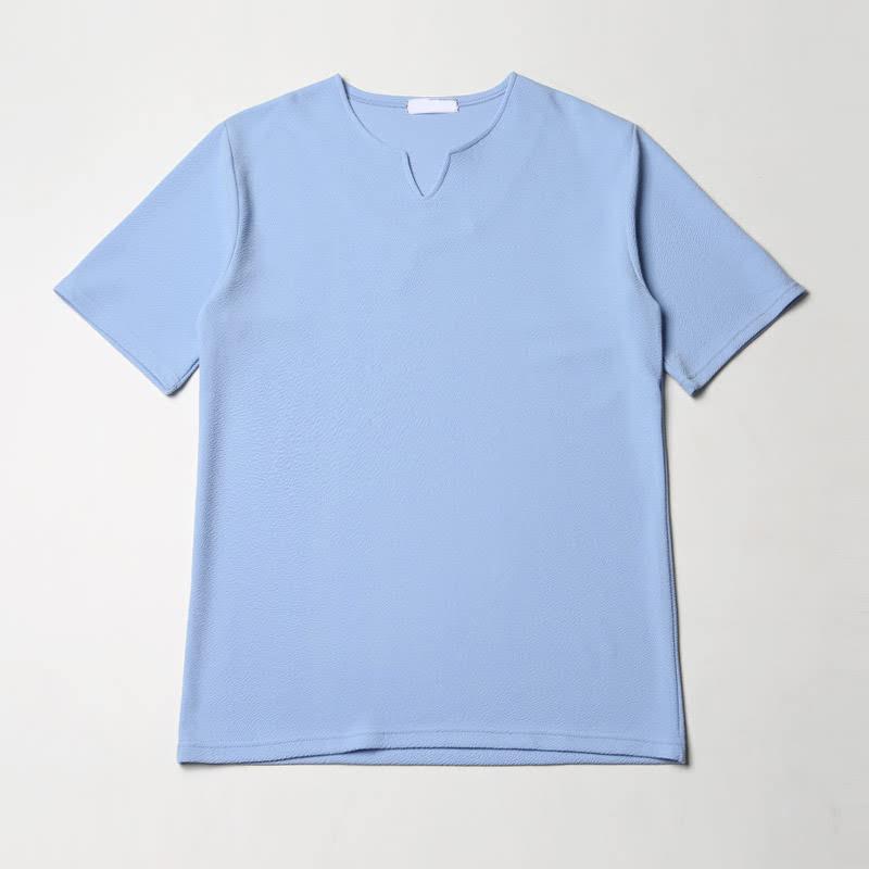 [BL1118]Embo V Vent Short Sleeve T-shirt - Sky
