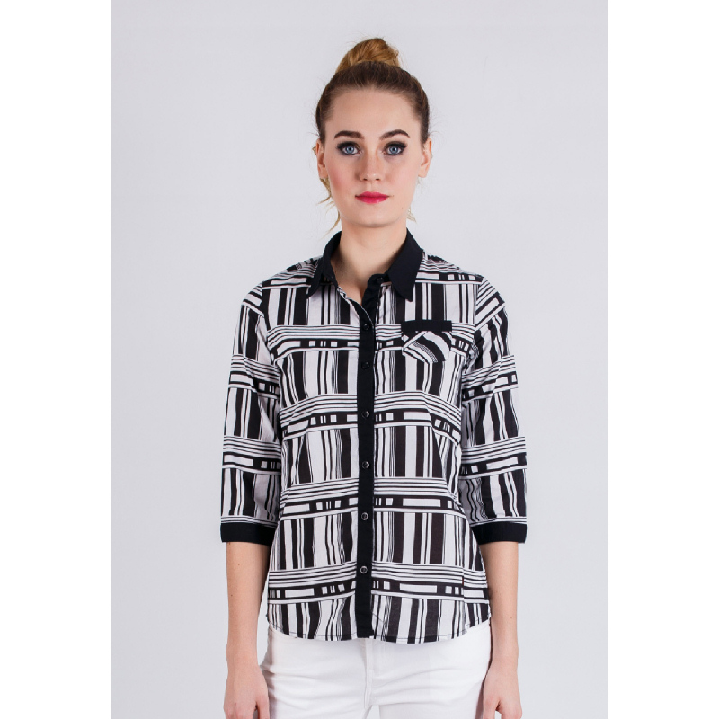 Slim Fit Ladies Shirt Black&White Long Sleeve