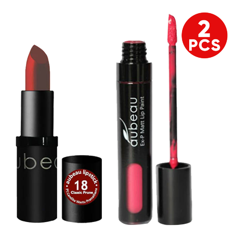 aubeau Lipstick 18 – Classic Prune + aubeau Ex-P Matt Lip Paint 03 – Delicate Rose