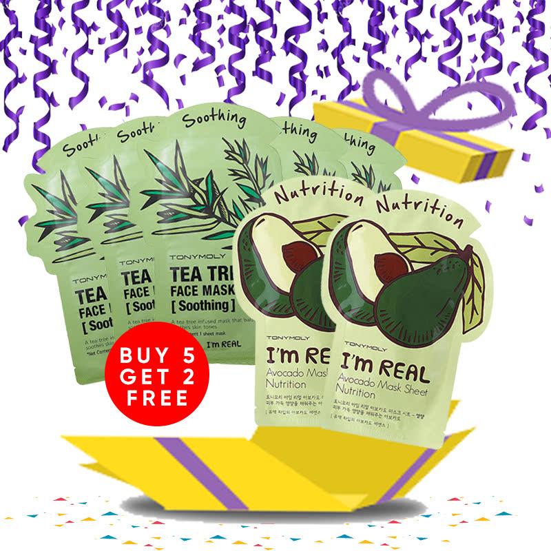Tony Moly Bundle 5pcs I Am Real Tea Tree Mask Sheet Skin Calming + 2pcs Avocado Mask Sheet Nutrition