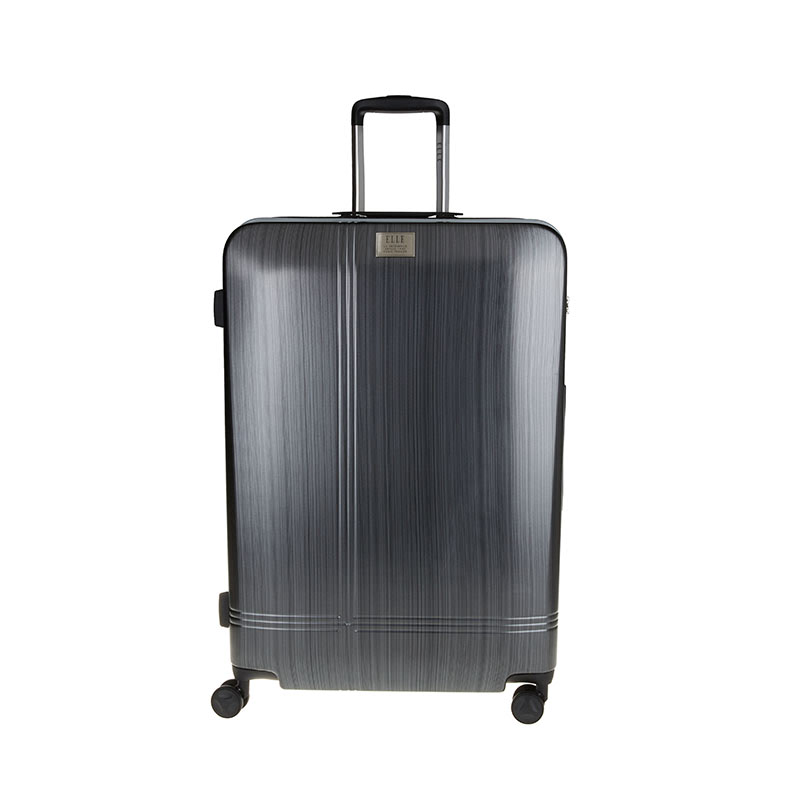 Elle Hardcase Luggage Size 28 inch 8 Wheels TSA Lock - Black Silver
