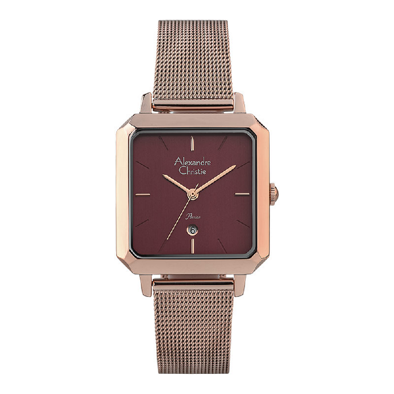 Alexandre Christie Passion AC 2911 LD BRGRE Ladies Red Dial Rose Gold Mesh Strap