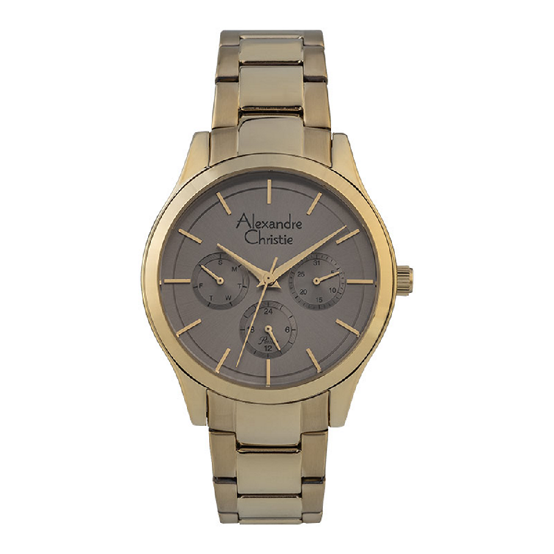 Alexandre Christie Passion AC 2915 BF BGPGR Ladies Grey Dial Gold Stainless Steel Strap