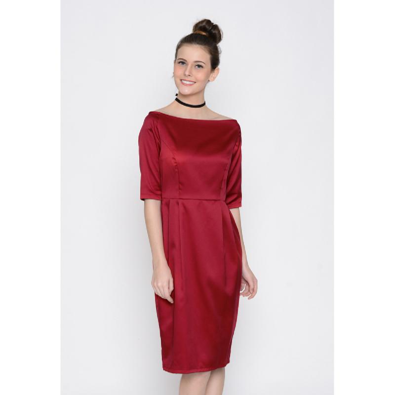 Agatha Sabrina Red Dress With Sleeve Red