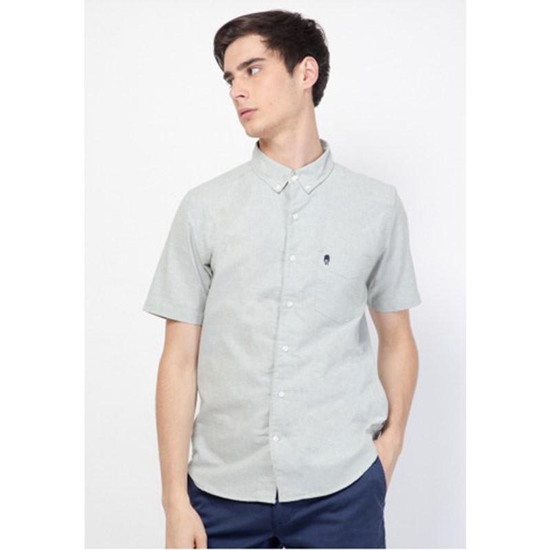 Skelly Men Shirt Guardian Hiro Oxford Shirt Short Sleeve Pistac