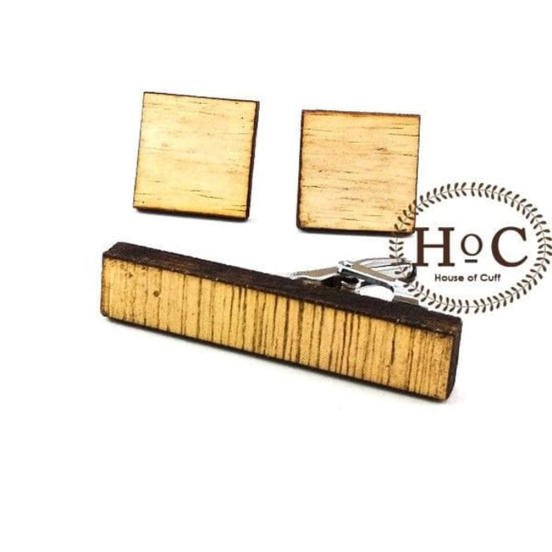 House Of Cuff Cufflinks Manset Kancing Kemeja French Cuff Square Wood Bright Set