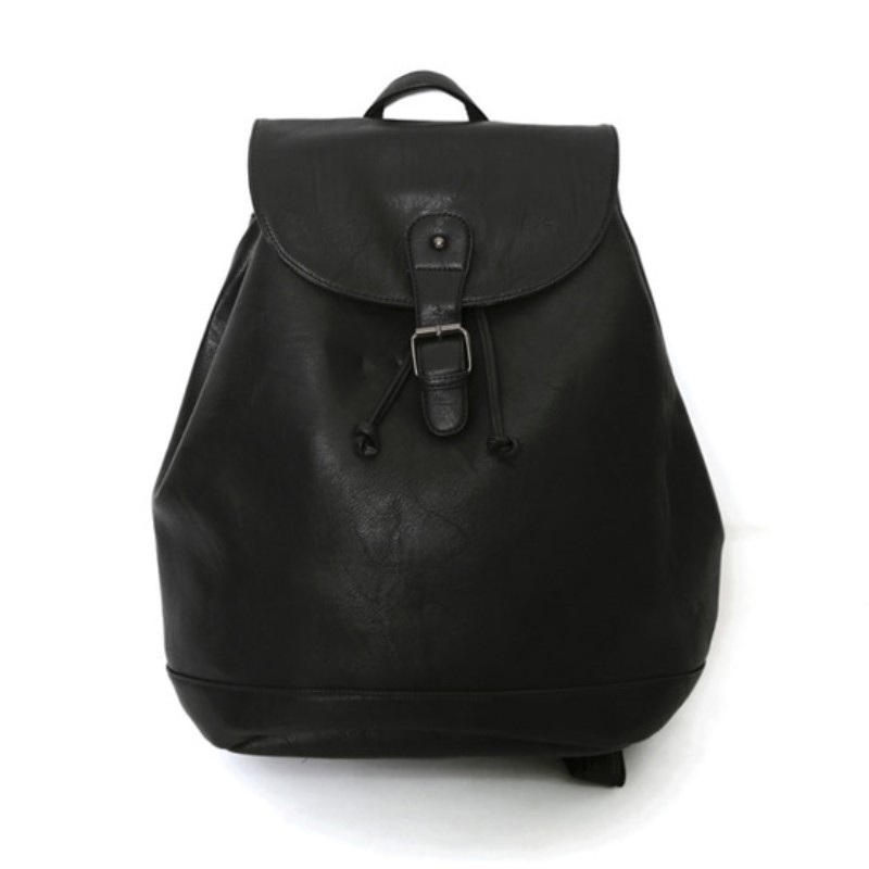 String Black Leather Backpack
