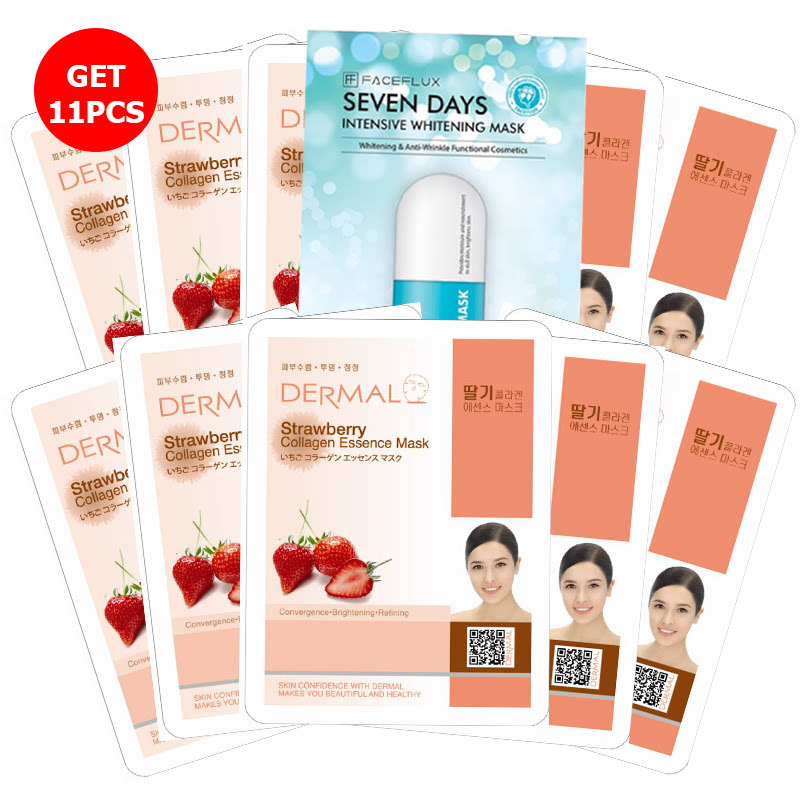 Buy 5 get 5 Dermal Strawberry Collagen Essence Mask Free Seven Days Face Flux