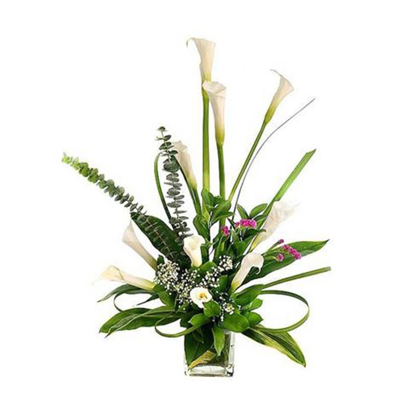 10 White Calla Lilies In A Vase