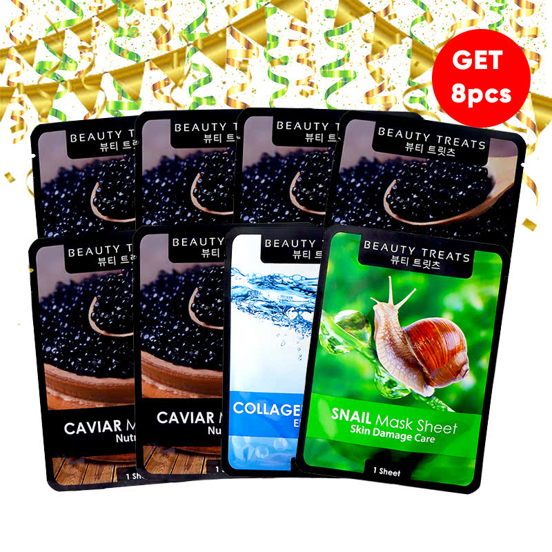 Beauty Treats Mask Sheet Caviar (6pcs) FREE Mask Sheet Collagen + Snail